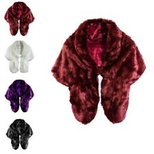 Women Ladies Faux Fur Bridal Wedding Plain Winter Party Warm Shawl Shrug Wrap UK