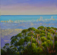 Original oil Australian landscape painting of Gold Coast Gum trees