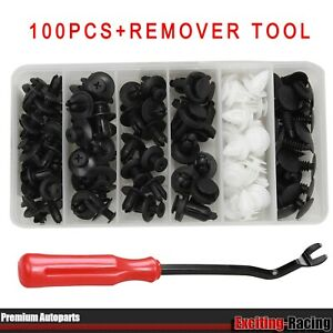 100pcs Car Clips 6 Sizes Trim Push Retainer Pin Rivet Bumper w/ Remover Tool