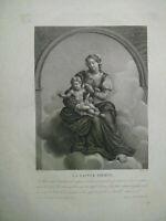 Grande gravure La Sainte Vierge par Blaizot et Renard grand format XIXème siècle