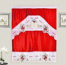 Strawberry Vine Embroidery Kitchen Curtain with Swag and Tier Set 36 in Red