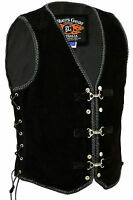 Mens Motorcycle Harley Style Spanish Braid Suede Vest with Clips Size S - 6XL