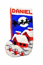 Vintage Christmas Stocking Christmas Santa Needlepoint- DANIEL