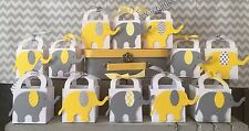 24 Embossed Thank You Favor Boxes For An Elephant Themed Shower Yellow Grey
