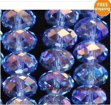 4x3mm,cristal,bleu,multicolore,facettes,pierres précieuses,en vrac,perles,150pc