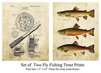 (Set of 2) Vintage Fly Fishing Patent Art Prints Reels Lures Cabin Wall Decor