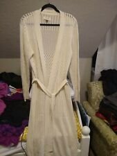 SONOMA Womens XL Ivory Long Open-front Duster Sweater Waist-tie