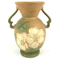 Weller Art Pottery Floral Relief Two Handle Vase Beige Green Matte Glaze Signed
