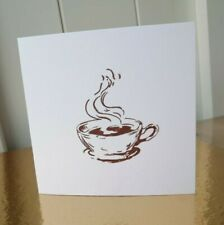 White Coffee Cup square Christmas Card handmade Hand carved rubber linocut stamp