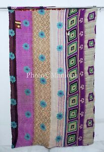 Indian Bohemian Kantha Purple Floral Queen Quilt Throw Blanket Kantha Bedspread