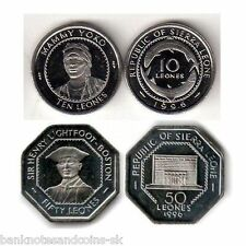 SIERRA LEONE COIN SET 10+50 Leones 1996 UNC UNCIRCULATED LOT of 2