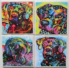 Set of 4 - Handmade Natural Stone Ceramic Tile Drink Coasters - Party Dogs - F