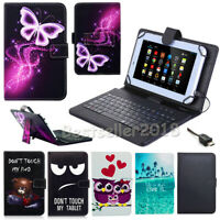 "For Samsung Galaxy Tab A E S S2 S3 7"" 8"" 10.1"" Leather Case USB Keyboard Cover P"