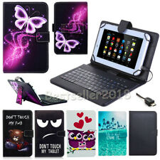 """US For 7"""" 8"""" 10"""" Android/Windows Tablet PU Leather Case Cover Micro USB Keyboard"""