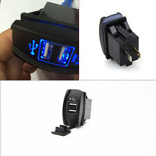Car Suv Waterproof Blue Light Charger Carling ARB Dual USB Switch Socket Power