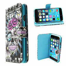 """Skull Print Magnet Wallet Phone Stand Leather Case Cover For Apple iPhone 6 4.7"""""""