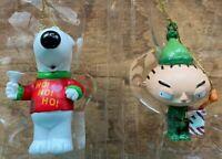 Family Guy Kurt S. Adler Christmas Ornament Set - Brian and Stewie as Elf