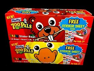 36 Hefty Zoo Pals Lunch Baggies Slider Sandwich Bags Party Favors School Lunch