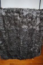 NEW WILLIAMS SONOMA HOME FAUX FUR THROW GRAY BLACK OWL FEATHER JOPLIN 50 X 65