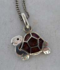 925 Silver Turtle Pendant 47cm A6020 Vintage 835 Silver Chain Necklace Enamelled