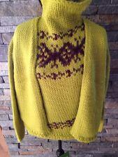 DKNY Chunky HandKnit - Twin Set Sweater Neon Yellow - Fair Isle - Manos Yarn - M