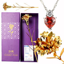 Best Mother's Day Birthday Romantic Gift : 24K Gold Carnation, Crystal Necklace