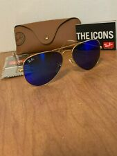 Ray-Ban Sunglasses Aviator Gold Frame Blue Mirror Flash Lens RB3025 112/17 55mm