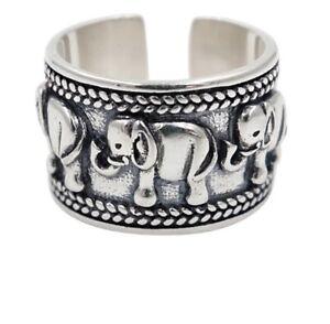 925 Sterling Silver Plated Elephant Ring Adjustable Thumb Finger Band UK + Bag