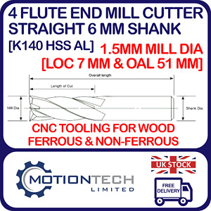 1.5 mm Dia. End Mill HSS - Straight 6mm Shank 4 Flute LOC 7mm & OAL 51mm for CNC