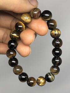 "7"" Tiger Eye Quartz 10mm Stretch Bracelet handmade P17"