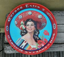 "VTG 80's MEXICAN CORONA EXTRA BEER BEAUTIFUL MARIACHI LADY TIN TRAY 13"" MEXICO"