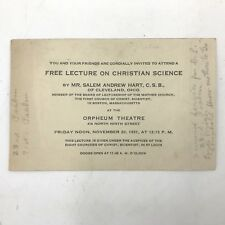 New listing 1931 Free Lecture on Christian Science Invitation Card Salem Hart St Louis Bk2