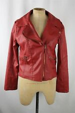 Zara Woman Womens Red Faux Leather Moto Jacket SZ M