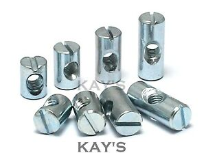 BARREL NUTS SLOTTED CROSS DOWELS M6x14mm 20mm 25mm  CENTRAL THREAD BEDS COTS