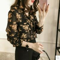 Women Shirt Floral Flower Blouse Sheer Lady Button Down Tops Casual Long Sleeve