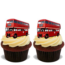 15x RED LONDON BUS Premium Edible Stand Up Rice Wafer Cup Cake Toppers D2 BUSES