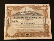 1921 Texcal Oil & Refining Company Stock Certificate California Oil Vignettes