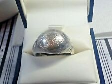Vintage Sterling Silver Scroll Pattern Dome Ring Approx.Sz 8 Stamp 925 Siam & ??