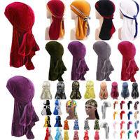 Men Women Breathable Bandana Hat Gold Velvet Durag Long Tail Headwrap Chemo Cap