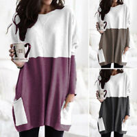 UK Womens Long Sleeve Jersey Tunic Top Casual Loose Jumper Dress Pullover Blouse
