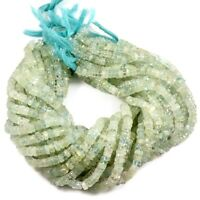 "Aquamarine Natural Gemstone Smooth Tyre Shape Beads 13"" Strand 5-6 mm"