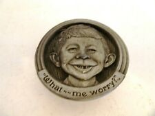 """Alfred E Neuman Mad Magazine 1993 Vintage """"What .Me Worry?"""" Belt Buckle"""