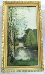 "Big 31"" Antique Oil Painting Folk Art LANDSCAPE Country Primitive VICTORIAN"