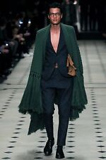 Burberry Prorsum Runway Forest Green Fringe Cashmere Cape Coat NWT