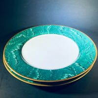 "2 FITZ FLOYD FF PLUME D'OR GREEN BREAD PLATES 6 1/2"" TEAL GREEN PLUME GOLD"