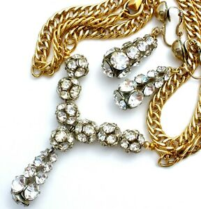 Vintage Lavalier Necklace & Earrings with Clear Crystal Rondelles Gold Tone W