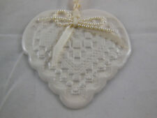 """Heart Ornament Clay 3"""" Hardanger hand crafted ornament Valentine"""