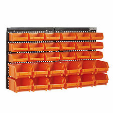 VonHaus 30pc Wall Mount Panel DIY Garage Shelving Organiser Storage Bin Rack Set
