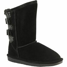 Womens BearPaw  Boots Black Suede with Sweater Detail Womens SALE Size 6