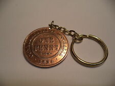 1934   Penny  Coin Key  Ring    Select Your Birth Year 1911 - 1964